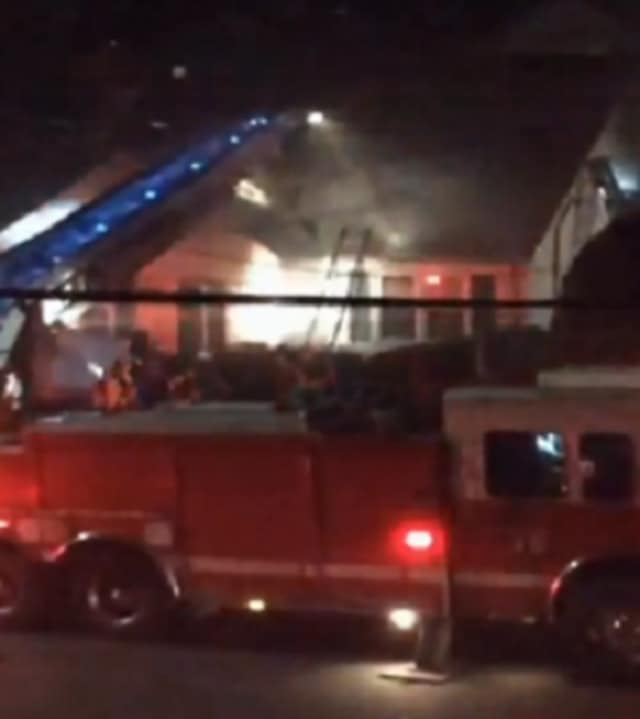 Several Yonkers firefighters were hospitalized after battling a fire Wednesday night.