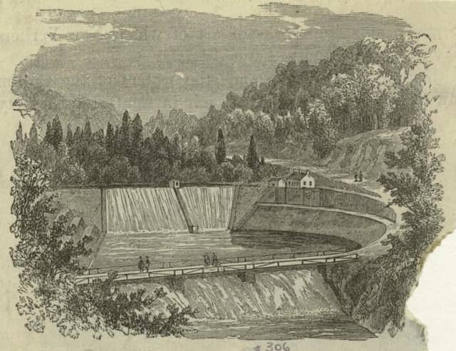 An 1872 rendering of the Old Croton Dam