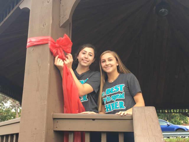 Yorktown cheerleaders hang red ribbons in honor of Red Ribbon Week to promote drug-free lifestyles.
