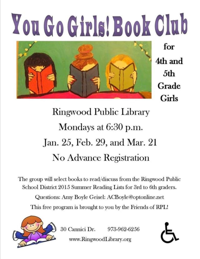 You Go Girls! Book Club will meet at the Ringwood Pubic Library on Monday, March 21 at 6:30 p.m.