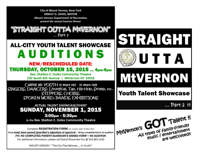 The city of Mount Vernon will hold auditions on Oct. 15 for a youth talent showcase.