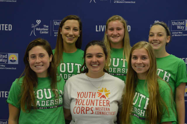 Youth Leadership Program members gather with Morgan Greening, AmeriCorps team leader for the Youth Volunteer Corps of Western Connecticut.