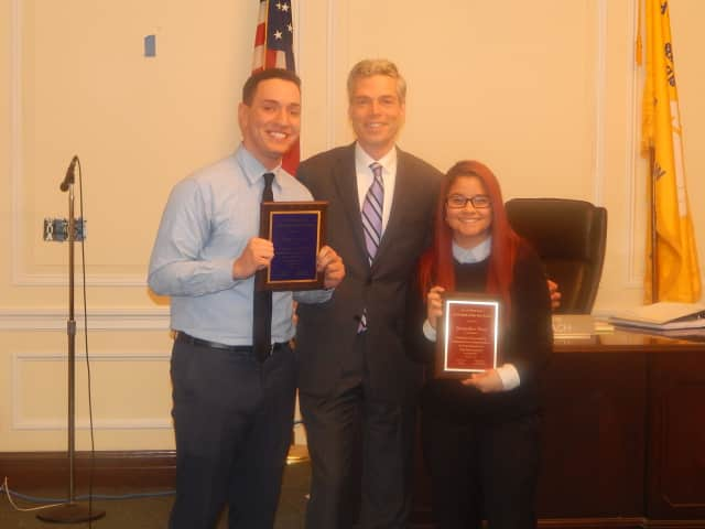 """White Plains Mayor Tom Roach presented Brian Gomez and Jackie Rayo with """"Youth of the Year"""" awards at Monday night's meeting of the Common Council."""
