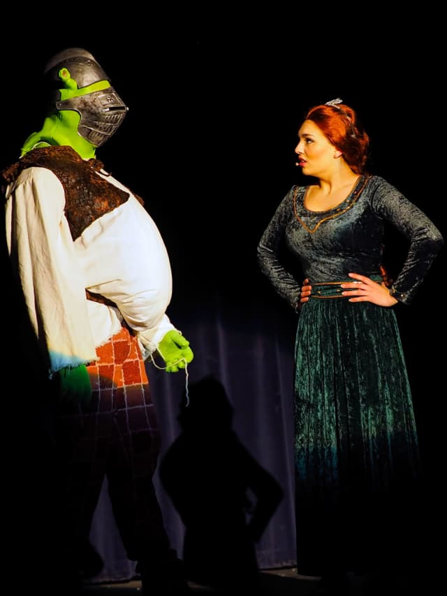 """Students from the Cliffside Park High School Drama Club will present """"Shrek the Musical"""" -- as Rye High School students did in February, as shown here."""