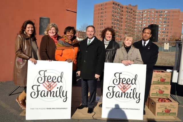 L to R: Cindy Carrasquilla, Stop & Shop; Ellen Lynch,Food Bank for Westchester; State Senator Andrea Stewart-Cousins; Westchester County Executive Robert P. Astorino; Karen Brown and Becky McGovern; and Captain Giovanny Guerrero, Salvation Army.