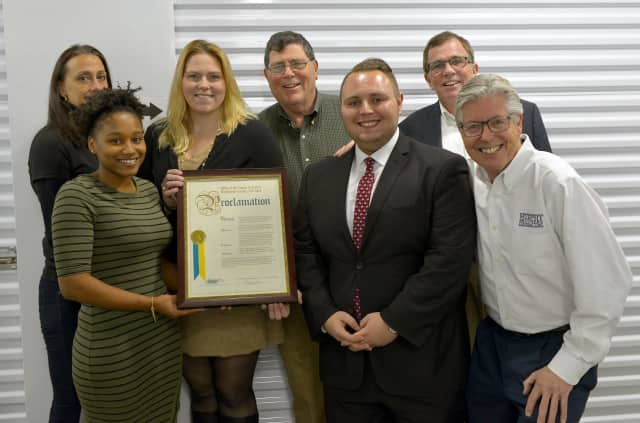 Mamaroneck Self Storage staff with Ross Weiner from the Westchester County Executive Office and Chris, Sean and Michael Murphy.