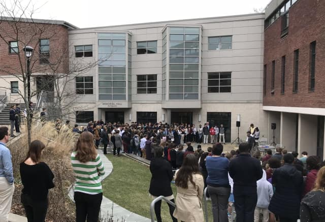 "More than 200 students, faculty ad administration members from Rye Country Day School ""walked out"" for 17 minutes at noon on Thursday March 1 to memorialize the 17 victims of the Parkland, Fla., mass shooting on Feb. 14."