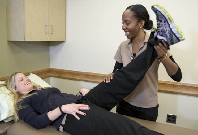 Raynetta Samuels, a women's health physical therapist at Holy Name Medical Center, specializes in pelvic floor muscle problems and demonstrates how exercises can help.