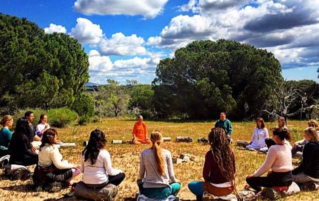 A Teaneck yoga studio is hosting a free monthly meditation circle -- that will surely be less outdoorsy than this one, in Portugal.