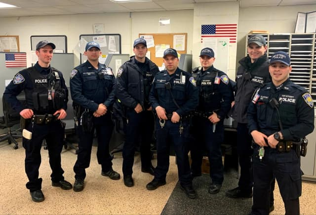 (l. to r.) Port Authority Police Officer Phil Campo, Joe Francavilla, Matthew Rosati, Nick Brucato, Steve Magnavita, Michael Raccioppi, Michael Tilatitsky