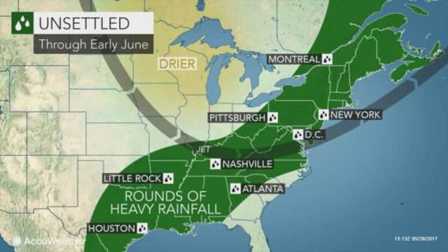 Rain is expected to continue for a few more weeks all over the East Coast.