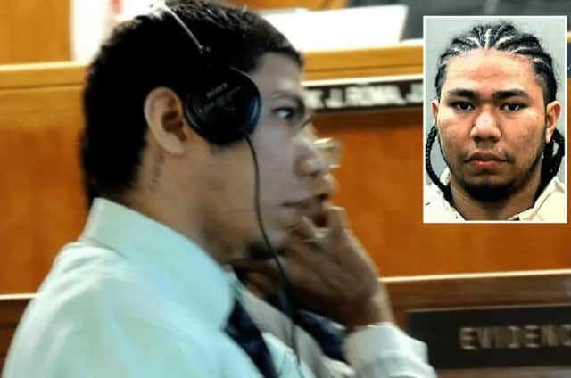 Alexis Sanchez-Medina at his 2013 sentencing in Hackensack and (inset) in state prison booking photo.
