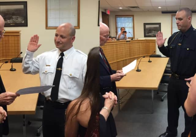 New Lt. Michael Lizzi and Sgt. Matthew Kent were sworn at a June 22 mayor and council meeting.