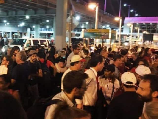 The scene outside Terminal 8 at JFK.