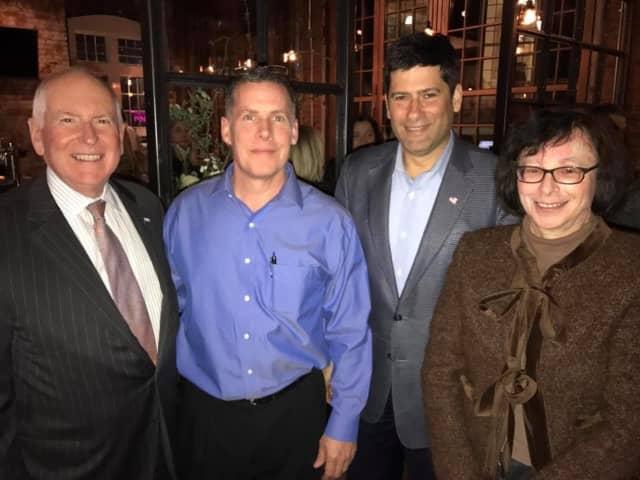 "Westport's Board of Selectmen - Jim Marpe, Avi Kaner and Helen Garten - celebrated Amis' ""soft opening"" with general manager Dan Licitra."