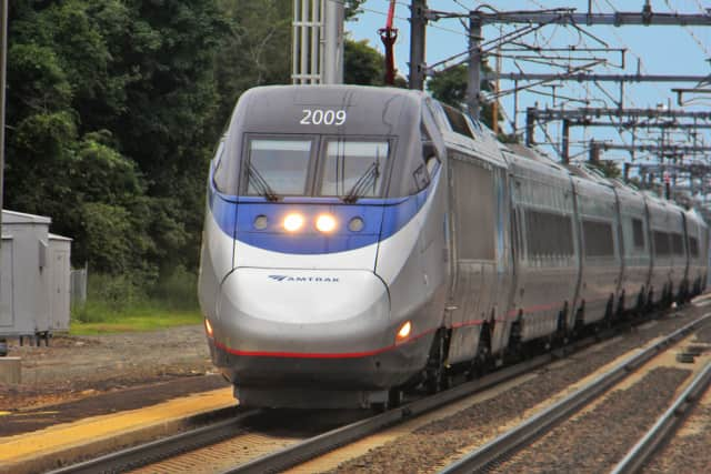 An Acela train hit a pedestrian near Guilford.
