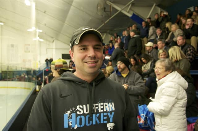 Suffern Director of Athletics Andy Guccione at recent ice hockey game.