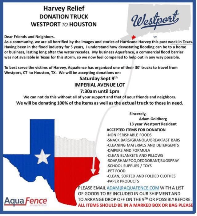 AquaFence will be loading up a truck of donated items in Westport to be shipped to Hurricane Harvey victims in Houston
