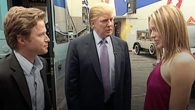 "From left, Billy Bush, Donald Trump and Arianne Zucker in the behind-the-scenes tape of an ""Access Hollywood"" segment."