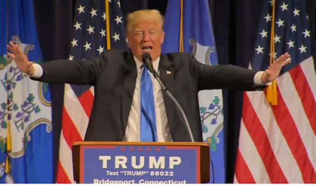 Donald Trump gestures during his speech at an April appearance in Bridgeport.
