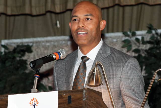 Mariano Rivera accepting an award for the Mariano Rivera Foundation from Latino U College Access at the C.V. Rich Mansion in White Plains. Photograph by Mike Dardano/Buzz Potential.