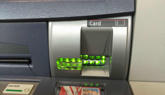 Skimmers are small electronic devices that steal card information and fit over the swipe or push slot for debit and credit cards.