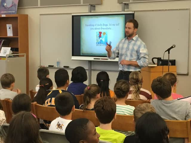 Adam Gidwitz met with Pelham 6th graders.
