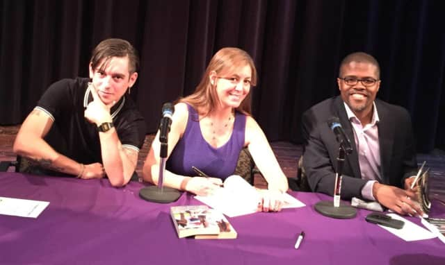 Students and these visiting authors, alumni, honored late author E.L. Doctorow at the inaugural Authors Out Loud event at New Rochelle High School