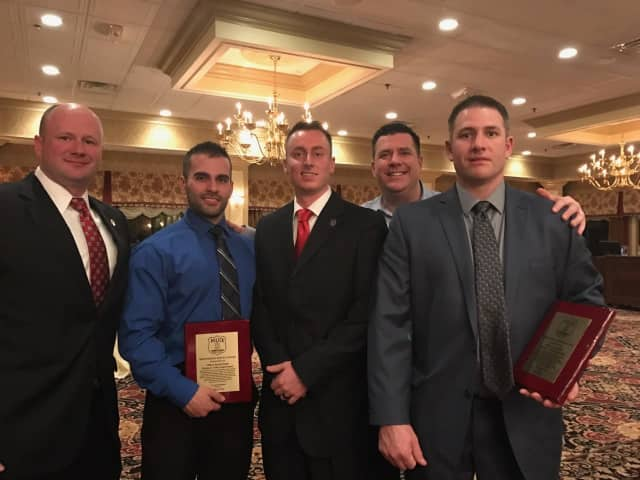 From left to right are: Westport Police Capt. Ryan Paulsson, Officer David Scinto, Officer Brendan Fearon, Capt. David Farrell and Officer Samuel Sabin. Scinto and Sabin received Meritorious Service honors for life-saving police work.