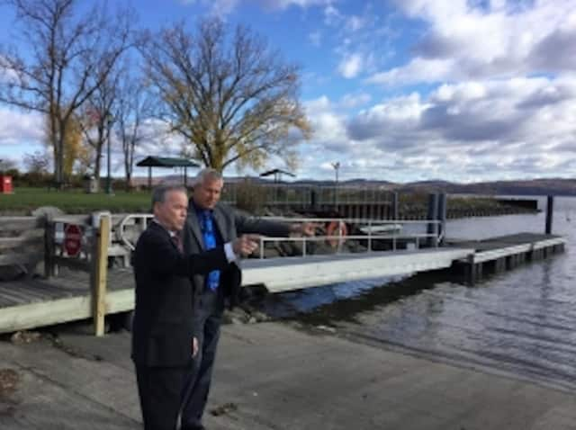 Rockland County Executive Ed Day and Allan Beers, director of the Rockland County Division of Environmental Resources, at the docks at Haverstraw Bay Park
