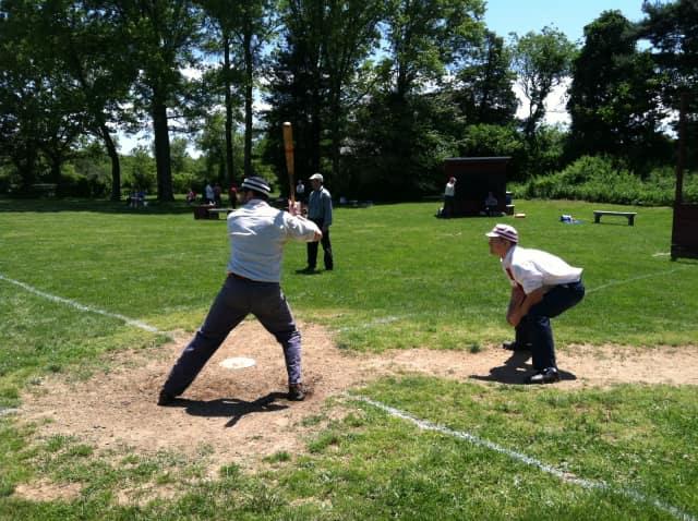 The Gotham Base Ball Club of New York takes on the Flemington Neshanock Base Ball Club.