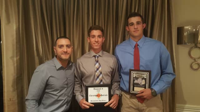 Pleasantville High School senior varsity baseball players Christopher Satriale and Drew Marino were honored Monday, June 13 at the Section 1 Baseball Awards Dinner in Hastings-On-Hudson, N.Y.
