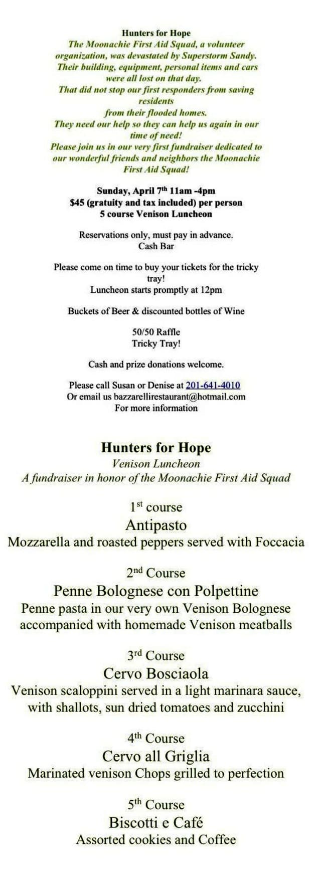 A special Sunday luncheon for the Moonachie First Aid Squad