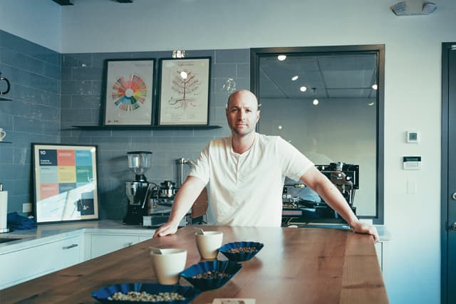 Jason Richter in the Path Coffee Roasters lab. Photograph by Franck Bohbot.