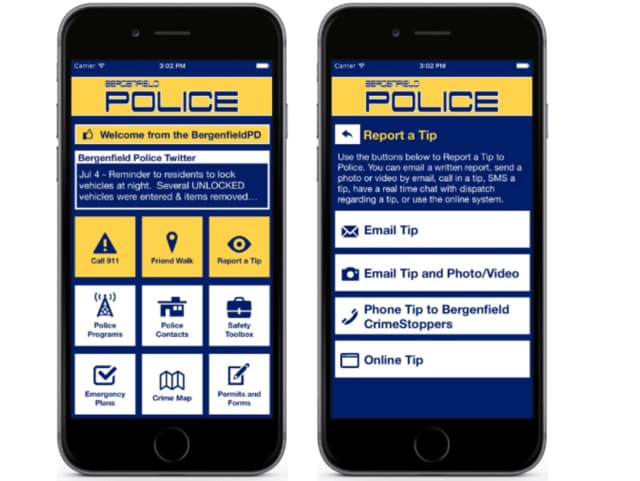 The Bergenfield police mobile safety app is available on the Apps Store and Google Play.