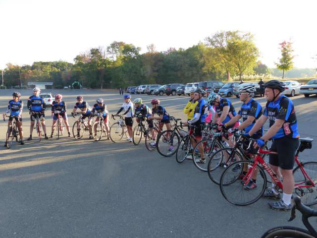 Cyclists gear up before last year's MMB Bergen Bike/Run.