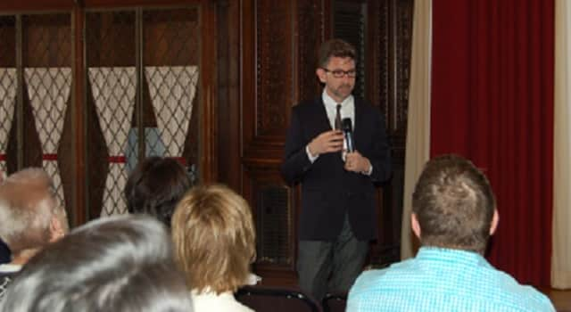 Marc Brackett, director of the Yale Center for Emotional Intelligence, speaks to local educators at a recent conference in Yorktown co-sponsored by the Center for Educational Leadership at Putnam|Northern Westchester BOCES and Manhattanville College.