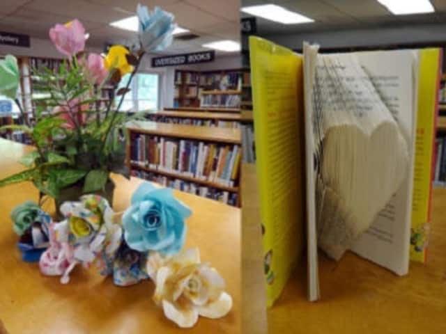 Books become art in a workshop offered at the West Milford Township Library.