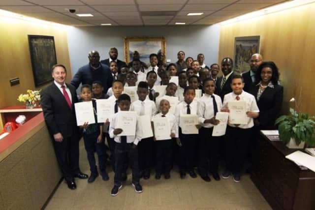 Westchester County Executive Robert P. Astorino meets with participants of the Boys to Men Mentoring Group at Cecil Parker Elementary School.