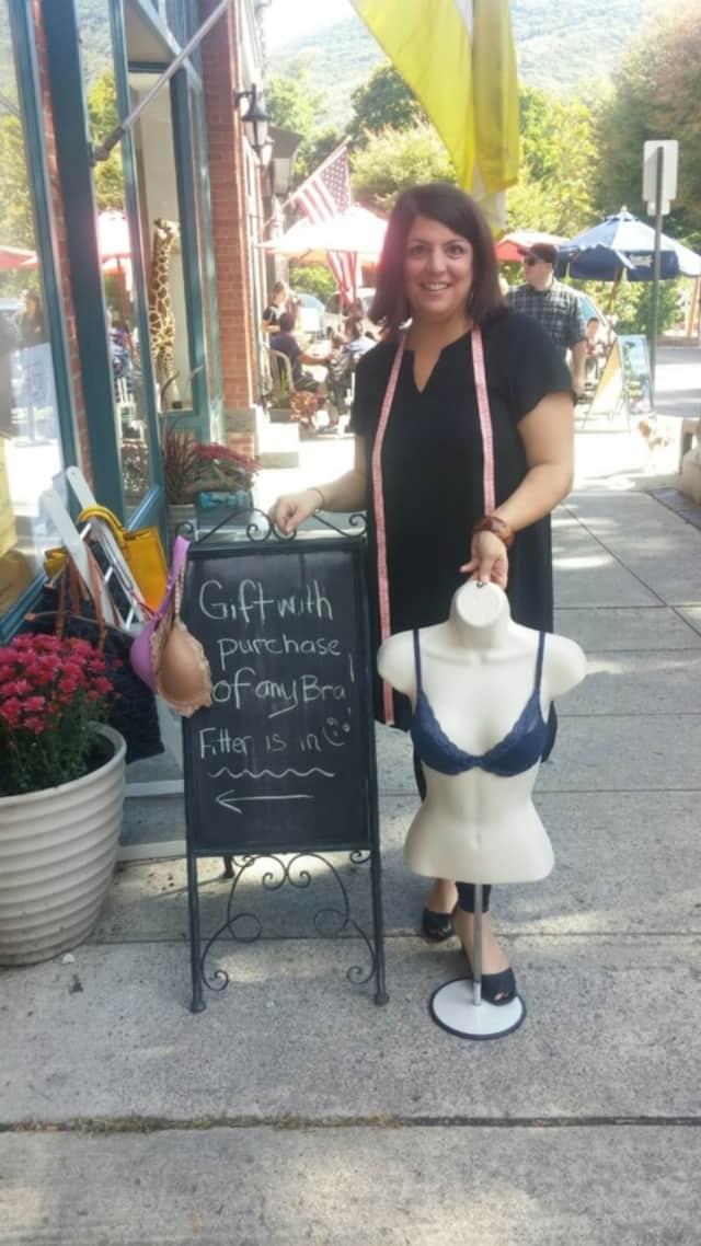 Christina Faraj Savarese, aka The Bra Fit Expert, outside Echo Boutique in Beacon.