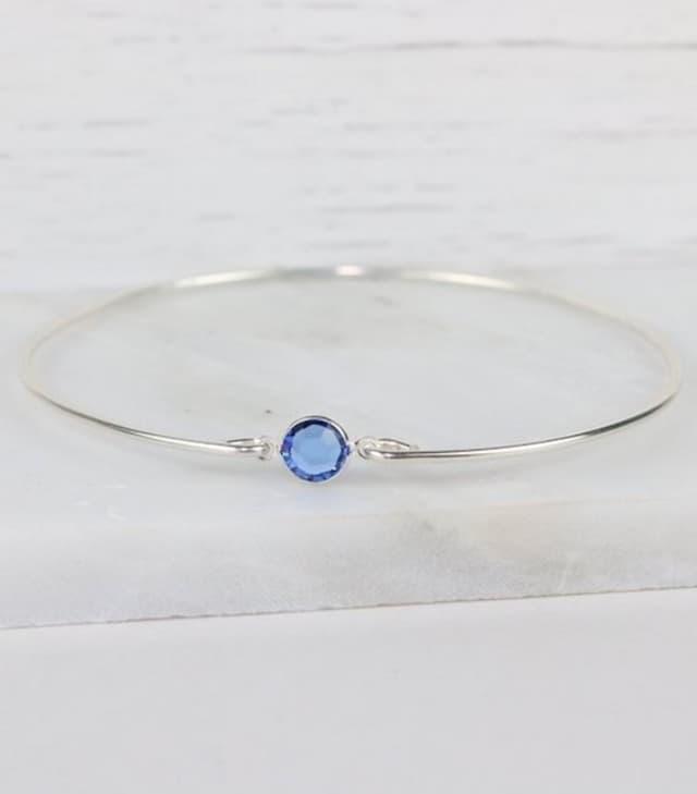 Silver September Swarovski sapphire bracelet. Courtesy Theresa Rose Designs.