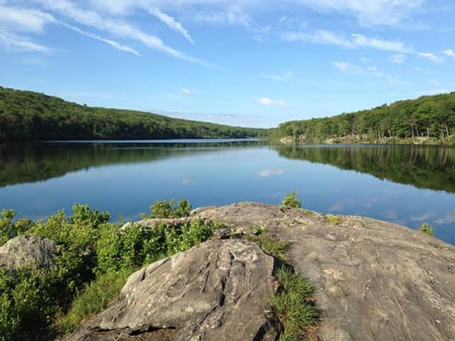 A breathtaking view of Breakneck Pond awaits guests at the newly renovated Appalachian Mountain Club's Harriman Outdoor Center.