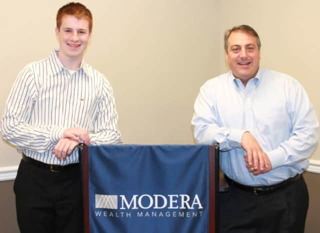 Brian Sumereau of Pascack Valley High School, left, and Tom Orecchio of Modera Wealth Management.