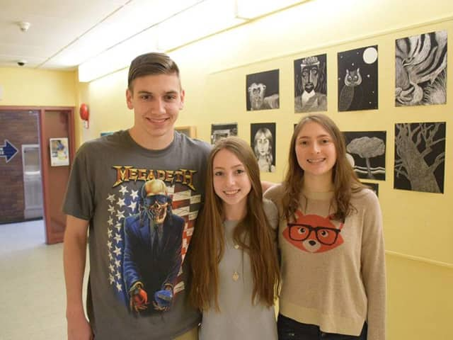 Briarcliff High School's Harrison Isaac, Eliza Marcus and Devon Litchfield recently were honored by the Scholastic Art and Writing Awards.
