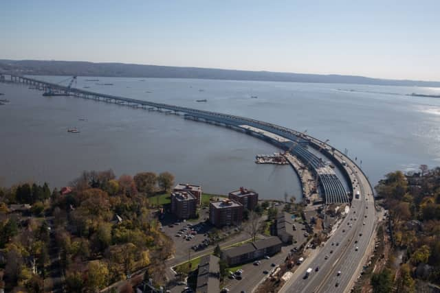 The Tappan Zee Bridge project as seen from Rockland County. A relatively mild winter has helped construction crews working on the span, unlike last year when high winds ripped several barges from their mooring.
