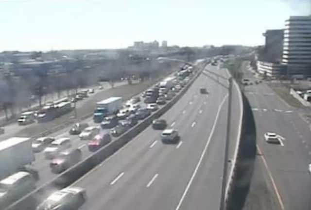 Traffic is jammed on I-95 in Stamford after a woman jumped to her death onto the highway near Exit 9.