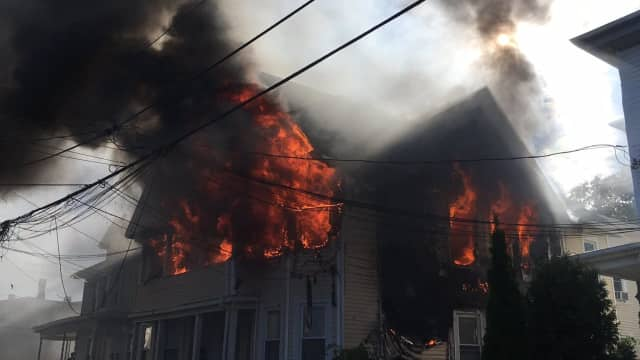 A home on Park Street in Bridgeport went up in flames on Thursday afternoon.