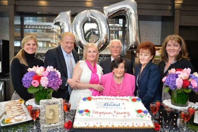 Marian Henry, a resident of The Bristal in Armonk, celebrates her 107th birthday Thursday with family and friends.