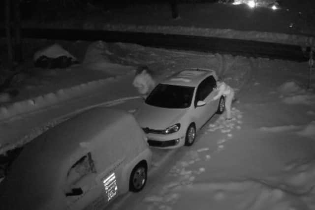 Screenshot of surveillance footage released by the Brookfield Police Department, showing thieves attempting to get into two vehicles left locked in a driveway.