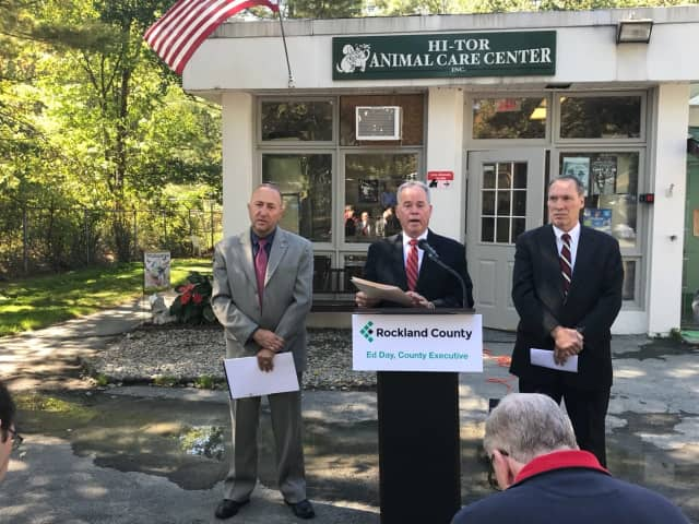 Rockland County Executive Ed Day making the budget announcement Monday.